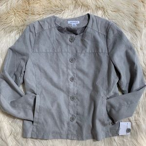 NWT! Gray Button Up Collarless Jacket Coat, L